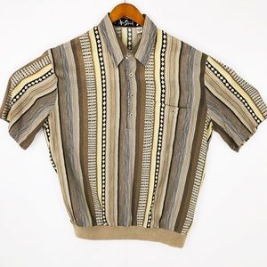 Retro Vintage 1970s Button Front Shirt Banded